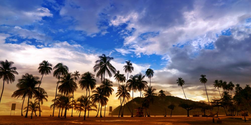 Trynidad i Tobago, plaża Maracas o zachodzie słońca